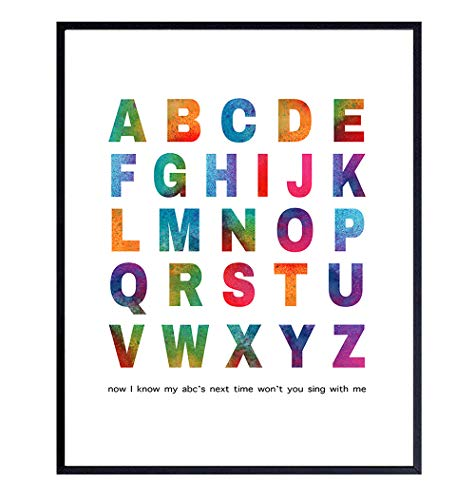 Alphabet Typography Art Print - Watercolor Wall Art Poster - Chic Modern Home Decor for boys, Girls Room, Kids Room, Baby Room, Nursery - Great Gift for New Moms, Baby Showers - 8x10 Photo- Unframed