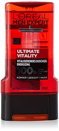 L'Oréal Men Expert Ultimate Vitality Duschgel, Weinreben-Extrakt reinigt und belebt Männerhaut (Gesicht, Körper und Haare) sanft ohne auszutrocknen, 300 ml