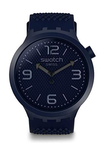 Swatch Herren Analog Quarz Uhr mit Silikon Armband SO27N100