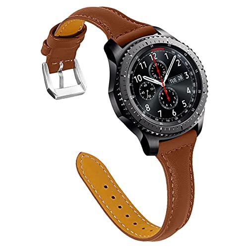 GhrKwiew Correa para Ticwatch Pro, Correa de Repuesto de Cuero Genuino con Conector de Acero Inoxidable Pulsera de 22 mm Correa para Samsung Galaxy Watch 3 45mm / Watch 46mm / Gear S3 (Marrón)