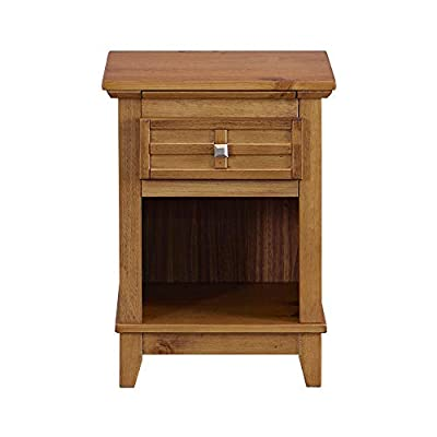 MUSEHOMEINC Wooden Classic Style Nightstand/End Table with Drawer, and Pull-Out Tray/End Table for Bedroom Open Cabinet Storage Home Furniture