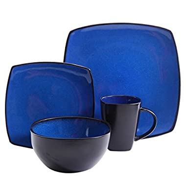 Gibson Home Soho Lounge Square Stoneware 16-piece Dinnerware Set - Blue