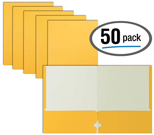 Two Pocket Portfolio Folders, 50-Pack, Yellow, Letter Size Paper Folders, by Better Office Products, 50 Pieces, Yellow