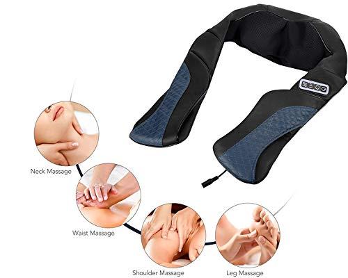 Cordless Rechargeable Shoulder Massager Back Neck Shiatsu Massage with 3D Massage Nodes Bidirectional Rotation and Optional Heat Mode Massage for Neck Shoulder Leg Waist Relax