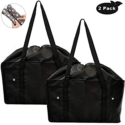 Reusable Grocery Bags, Extra-Large Oxford Cloth Shopping Totes, Drawstring Tote for No-Dropping, Set of 2 Collapsible, Long Handles Reinforced Bottom, Foldable Shopping Bags (Black)