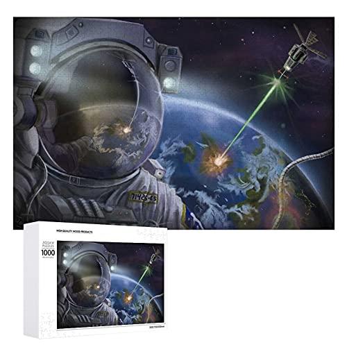 Astronaut inloggning 1 000 bitar unikt träpussel, stort format pussel för vuxna barn tonåringar familjer pedagogiska spel & leksaker.