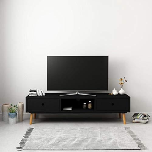 Tidyard Mobile Porta TV Nero 120x35x35 cm in Legno Massello di Pino