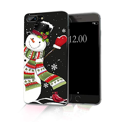 cocomong Snowman Christmas Phone Case Compatible with iPhone 8 Plus Christmas Case iPhone 7 Plus, Cute Winter Gifts for Women Girls Boys Men Slim Soft TPU Clear Protective Cover 5.5'
