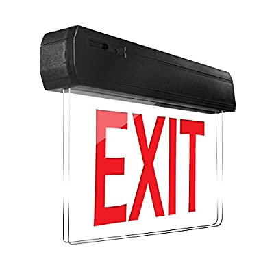 eTopLighting Edge Lit Exit Sign LED Light Panel, Red Lettering, Battery Backup, Transparent See Through, Mount on Wall and Ceiling, Rotary Surface Mounting, AGG2127, AGG2128, AGG2129