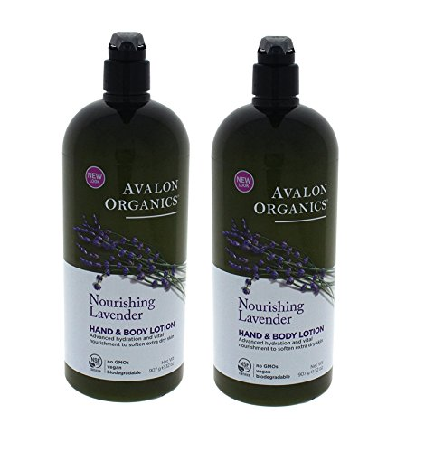 Avalon Organics Hand & Body Lotion, Nourishing Lavender 32 oz (Set of 2)