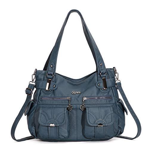 KL928 Tasche Damen Handtasche Umhängetaschen Damenhandtasche Schultertasche Lederhandtasche elegante Taschen hand taschen Henkeltaschen für frauen mit vielen fächern (Light Blue)