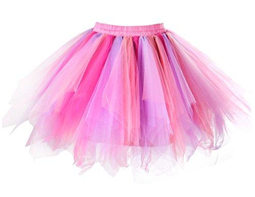 MsJune Women's 1950s Vintage Petticoats Crinolines Bubble Tutu Dance Half Slip Skirt (S/M, Fuschia-Lavender-Coral)