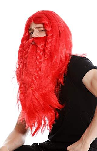 WIG ME UP- RJ033-P13 Peluca Larga roja y Barba Trenzada para Hombre Carnaval Vikingo bárbaro Enano Germano Viejo