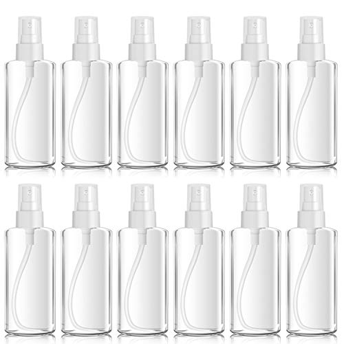 Sprühflasche klein, Zerstäuber Sprayflasche leer, tragbare Parfumzerstäuber ungiftig geruchsneutral, Reiseflaschen für ätherische Öle Reinigungsmittel Transparent BPA frei (50ml)