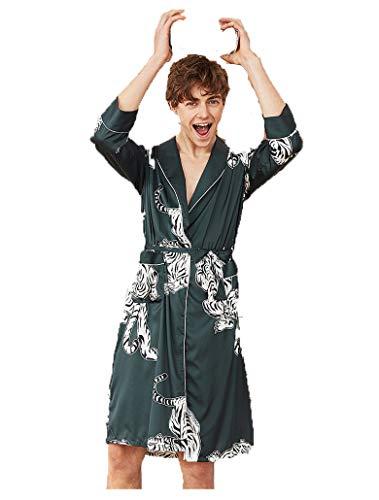 BigForest Herren Kimono Bademantel Langes Schlafkleid Tiger Bedruckt Nachtwäsche Satin Nachtwäsche Bademantel Gr. L, Green Men