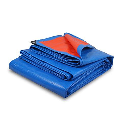 ZZYE Lona Tapa Cubre el Material Grueso de Servicio Pesado, Impermeable, Ideal para la Tienda de la tolera de la Lona, el Barco, la Cubierta de RV o la Piscina, Azul/Naranja, 0.35mm, 180 g/m² lo