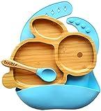 BUABI Vajilla de Bambú y silicona (CONEJO). Set 3 piezas: Plato, Cuchara y Babero. Con ventosa...