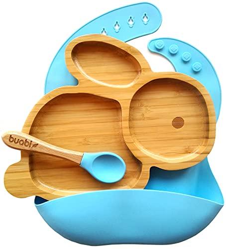 BUABI Vajilla de Bambú y silicona (CONEJO). Set 3 piezas: Plato, Cuchara y Babero. Con ventosa antideslizante en la base. Bambú natural y silicona grado alimentario, Ecológico sin BPA (Azul)