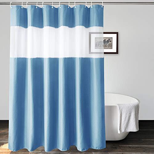 UFRIDAY Extra langer Duschvorhang, 183 x 213 cm, blaugraues Waffelgewebe, Duschvorhang mit Netzfenster, lässt Licht hinein für Badezimmer, waschbar