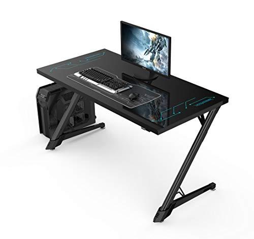 Ultradesk Freeze – Computertisch mit LED RGB und Fernbedienung, Gaming Tisch mit Platte aus Glas, L: 140cm T: 70cm H: 76 cm, Neuer Gamer Schreibtisch