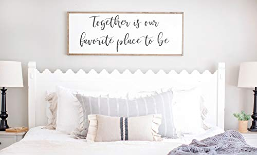 Ced454sy Plaque murale Together is Our Favorite Place to be Sign, Together is My Favorite Place, Maître Chambre Décoration murale Au-dessus du lit