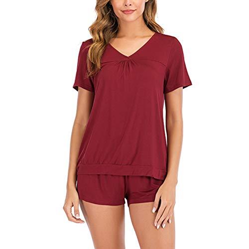 ZJML Conjunto De Pijama para Mujer, Camisón Corto De Manga Corta, Ropa De Hogar Modal De Color Sólido M-2XL,Rojo,Medium