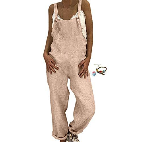 Petos de Pantalones Retro Largo Casual para Mujer, Morbuy Verano Lino Baggy Harem Mono Suelto Moda Bolsillos Overoles Jumpsuit Tirantes Playa Fiesta Oficina Pantalón