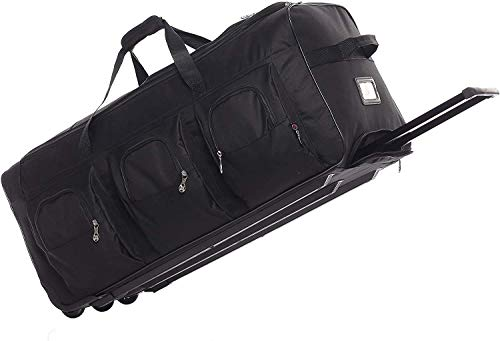 Large Lightweight Wheeled Duffle Holdall Travel Bag Sports Bag - 2 Year Warranty (Black/Black, 34 Inch)