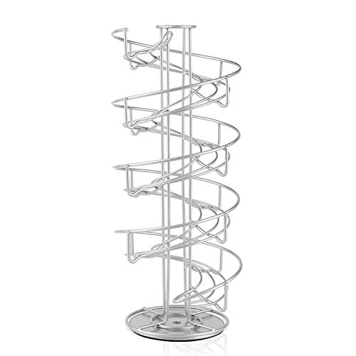 Flexzion Egg Skelter 360 Degree Rotatable Spiral Design Dispenser (Large) Chrome Plated Deluxe Modern Standing Storage Display Rack Organizer Holder for Countertop Kitchen, Silver
