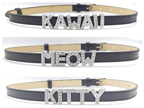 3 Pack Chokers -Kitty, Kawaii, Meow - Collar Necklace for Women Cute Sexy Rhinestone Letters Cat Lover Cosplay Gift