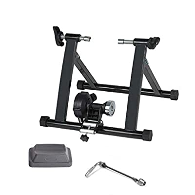 VANP Bike Trainer, Magnetic Bicycle Stationary Stand for Indoor Exercise Riding, Portable, Quick Release Skewer & Front Wheel Riser Block Included