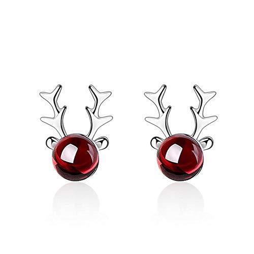 Zuyau Pendientes de plata de ley 925, regalo para mujer, ciervo de alce, bonitos animales de Navidad