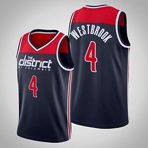 Camiseta de baloncesto para hombre Washington Wizards # 4 Russell Westbrook 2020/21 Camiseta de uniforme de baloncesto Chaleco deportivo Malla bordada Swingman Jersey,Azul,S