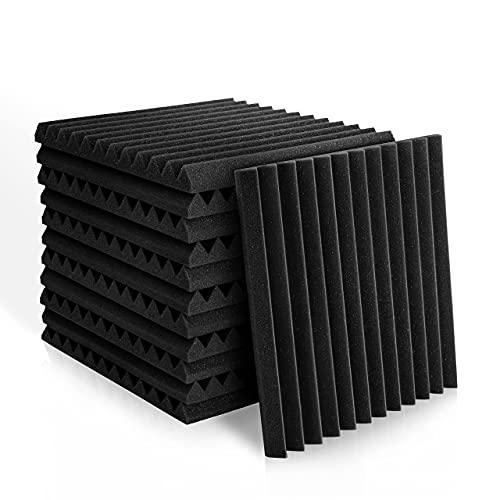 Kuchoow Akustikschaumstoff, Schwarz Schallabsorber Wand, 12 Stück Akkustik Schaumstoffmatte für Podcasts, Aufnahmestudios, Heimkino (30 X 30 X 2.5cm)
