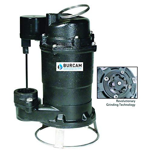 BURCAM 401446P 3/4HP Complete Sewage Grinder Pump System, Black