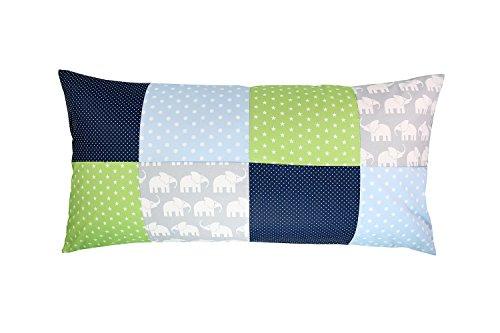 ULLENBOOM ® patchwork kussenhoes l 40x80 cm l katoenen kussenhoes voor sierkussens in de kinderkamer en babykamer I olifant blauw groen