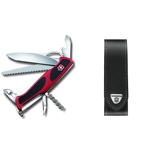 Victorinox Taschenmesser Ranger Grip 79 (12 Funktionen, Einhand-Feststellklinge) rot/schwarz & Victorinox V4.0505.L Mantel schwarz, One Size