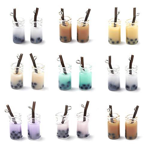 Craftdady 10 colgantes de cristal de leche con perlas de resina, diseño de botella de té, para manualidades, llavero y manualidades
