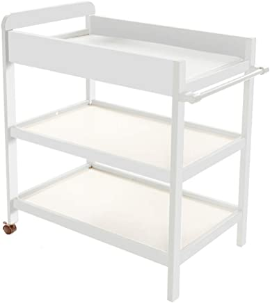 LNDDP Baby Changing Table White Portable Wood Diaper Station with Safety Fence  amp  Wheels  3-Shelf Baby Cot Dresser