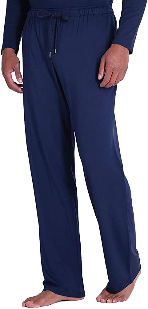 HOLOVE Mens Pajama Pants Lightweight Lounge with Pockets Soft Sleep Pj Bottoms