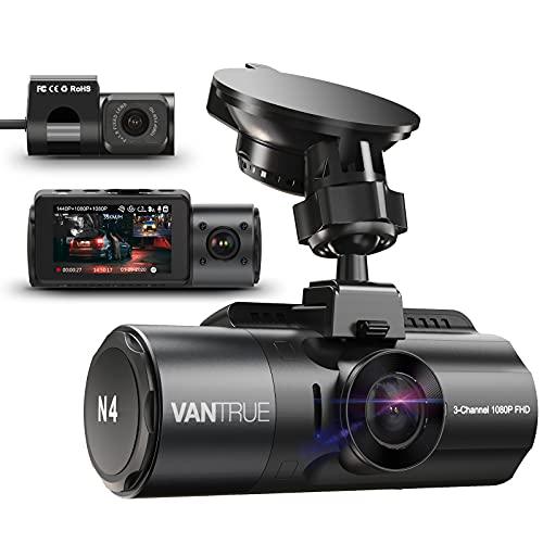 VANTRUE N4 3 Lens Dashcam 1440P + Dual 1080P Kamera Auto, 4K 3840x 2160P vorne, Infrarot-Cut Nachtsicht, 24/7 Parkmodus, WDR 2.45 Zoll IPS, Hitzebeständig Superkondensator Dash Cam G Sensor Max 256GB