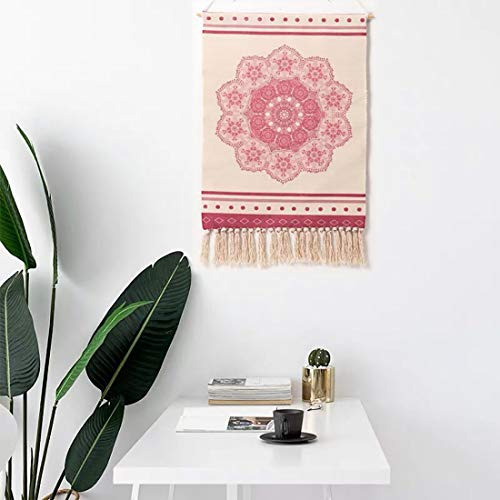 DESHOME Decor Tapestry, Macrame Woven Geometric Tassel Blanket, Creative Art Simple Boho Wall Hanging Cloth, for Home Bedroom Party Wedding Backdrop,F