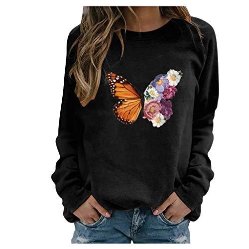 BOIYI Camiseta Manga Larga de Cuello Redondo Mujer Jersey con Estampado de Mariposas y Flor Casual Camiseta Otoño Primavero Sudaderas Blusa Tops Pullover(Negro,XXL)