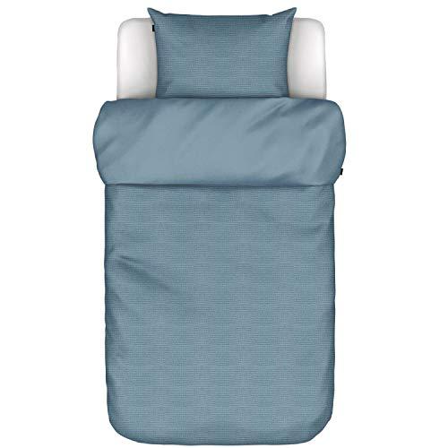 Marc O Polo Elvor Smoke Blue - Juego de cama (funda nórdica de 155 x 220 cm y funda de almohada de 80 x 80 cm), color azul