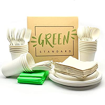 Eco Party Set 130 piece serves 16 biodegradable cutlery compostable plates eco friendly cups recycled napkins plant based tablecloths sustainable tableware non toxic biobased dinnerware