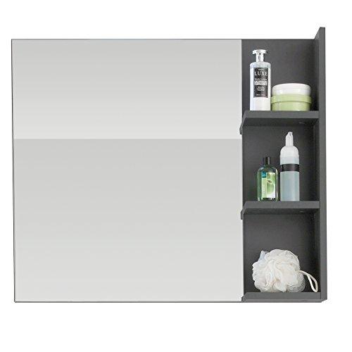 trendteam smart living Espejo de baño para pared Beach, 79 x 67 x 14 cm en melamina gris con repisa ✅