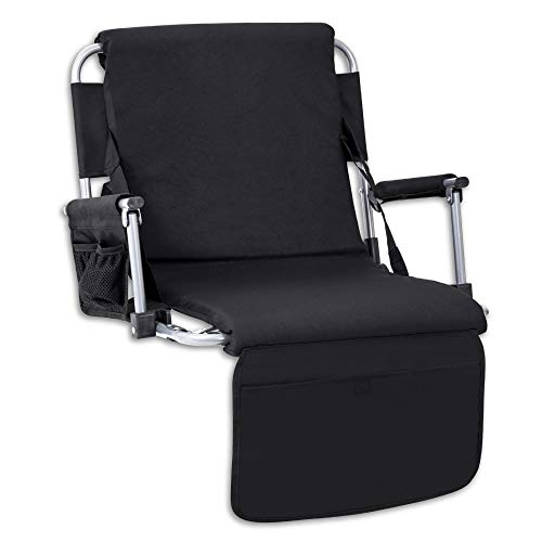 Yoli Padded Stadium Chair with Side and Front Accessory Pockets, Black