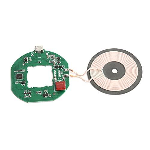 Dpofirs Módulo de Cargador rápido inalámbrico Qi de 10 W, transmisor USB, Placa de Circuito PCBA, Bobina de Carga de Bricolaje, 75% de eficiencia de conversión, Verde