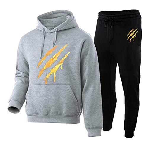 Conjunto de chándal para hombre, camiseta con capucha y pantalones, traje de jogging para hombre, sudadera y pantalones. Comfy 2 piezas Fitness Streetwear gris XXL
