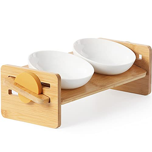 FUKUMARU Elevated Cat Ceramic Bowls, Small Dog 15° Tilted Raised Food Feeding Dishes, Solid Bamboo Water Stand Feeder Set for Cats and Puppy